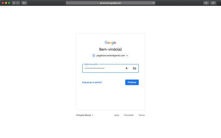 Acessando a conta do Gmail