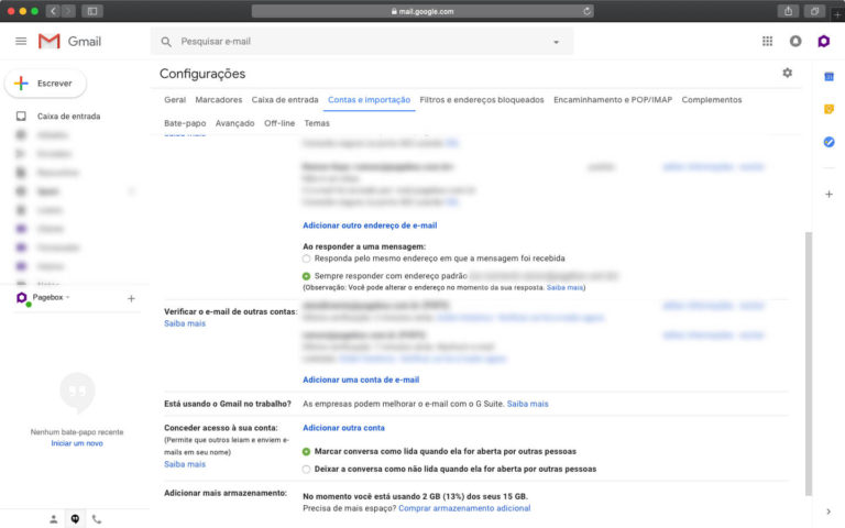 Adicionando uma conta de email no Gmail