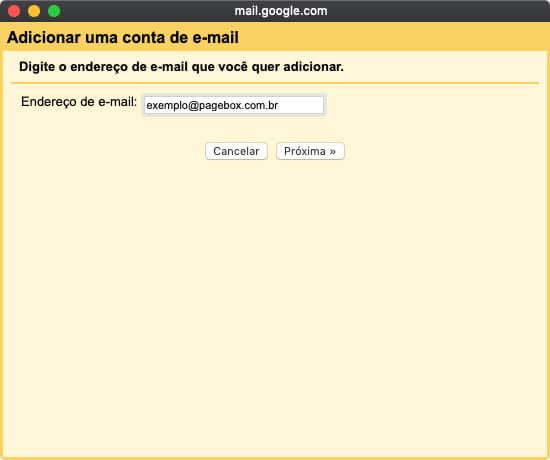 Adicionando uma nova conta no Gmail