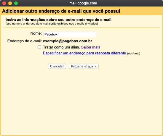 Configurando nova conta no Gmail