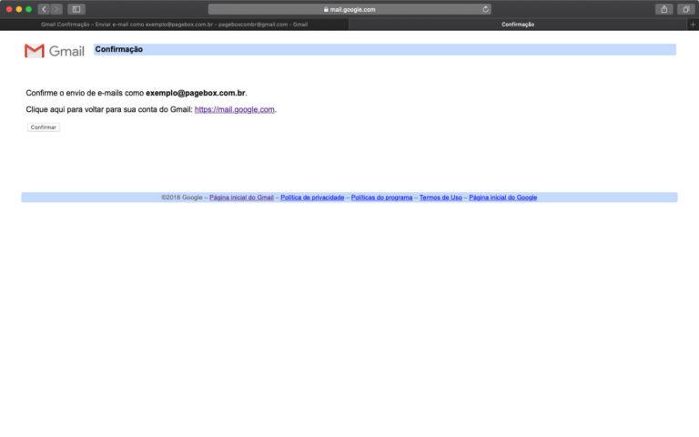 Confirmando autorização para o Gmail enviar emails pelo seu domínio