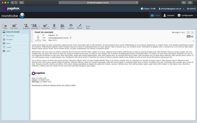 Lendo mensagens de email pelo Webmail